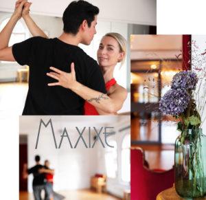 Collage mit Vase und Tanzsaal